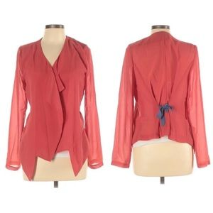 Umgee Coral Sheer Silky Waterfall Bow Blazer Red